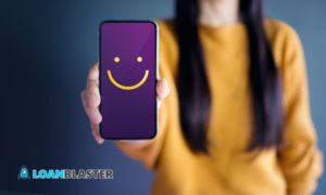 Customer Experience Concept, Happy Woman Show Smiley Face on her cellphone
